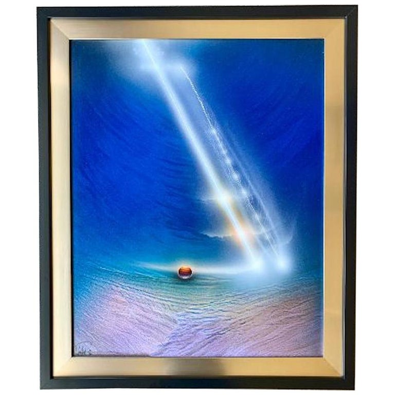 Original Space Artist Andreas Nottebohm Acrylic on Aluminum Painting KNM 1387 For Sale