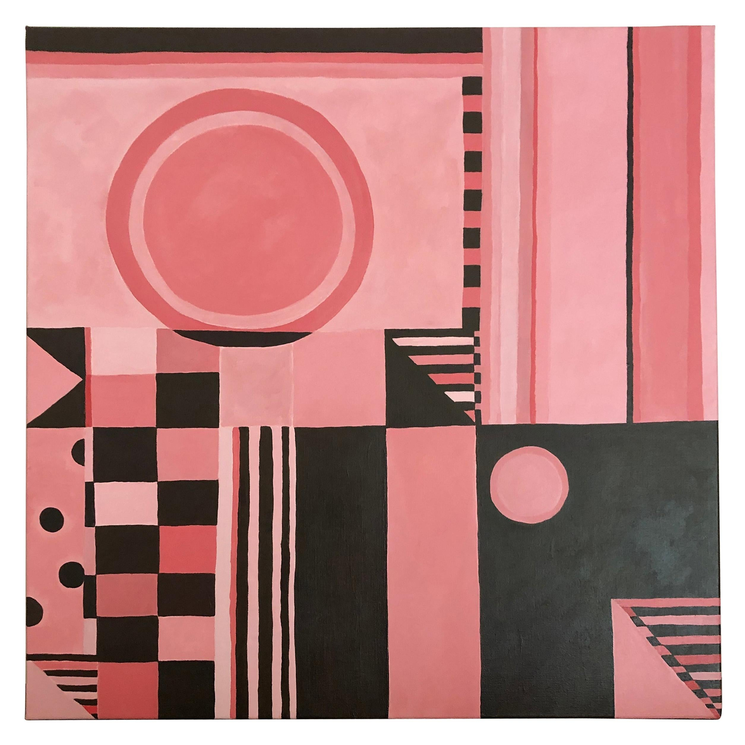 Original Square Abstract Painting in Pink and Brown