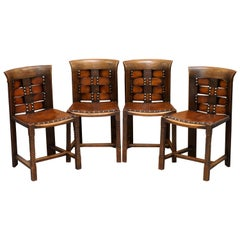 Original Suite of Four George Henry Walton Arts & Crafts Oak & Leather Chairs 4