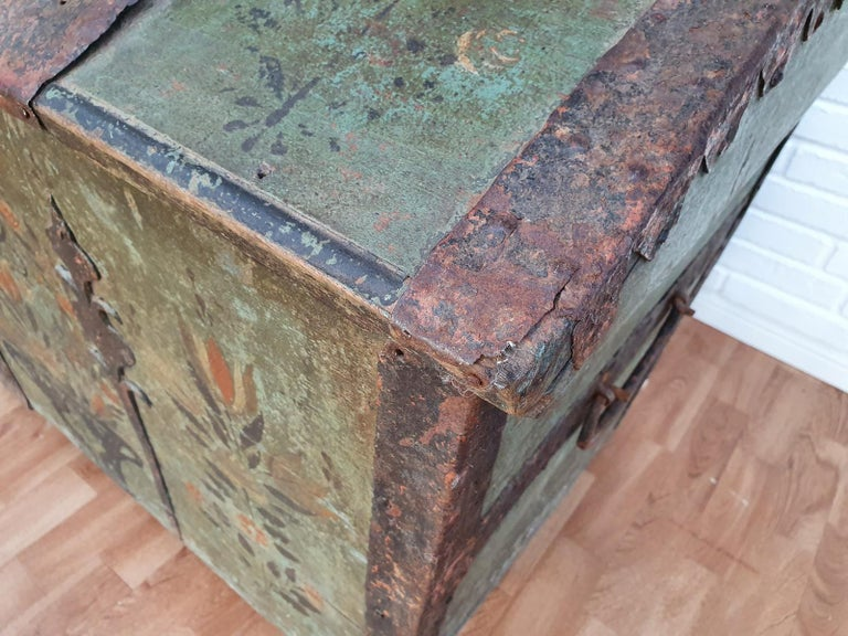 Original Swedish wooden chest from 1868, oakwood, copper fittings. Original painting from 1868.