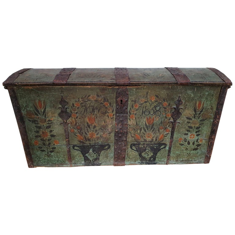 Original Swedish Wooden Chest from 1868, Oakwood, Copper Fittings For Sale