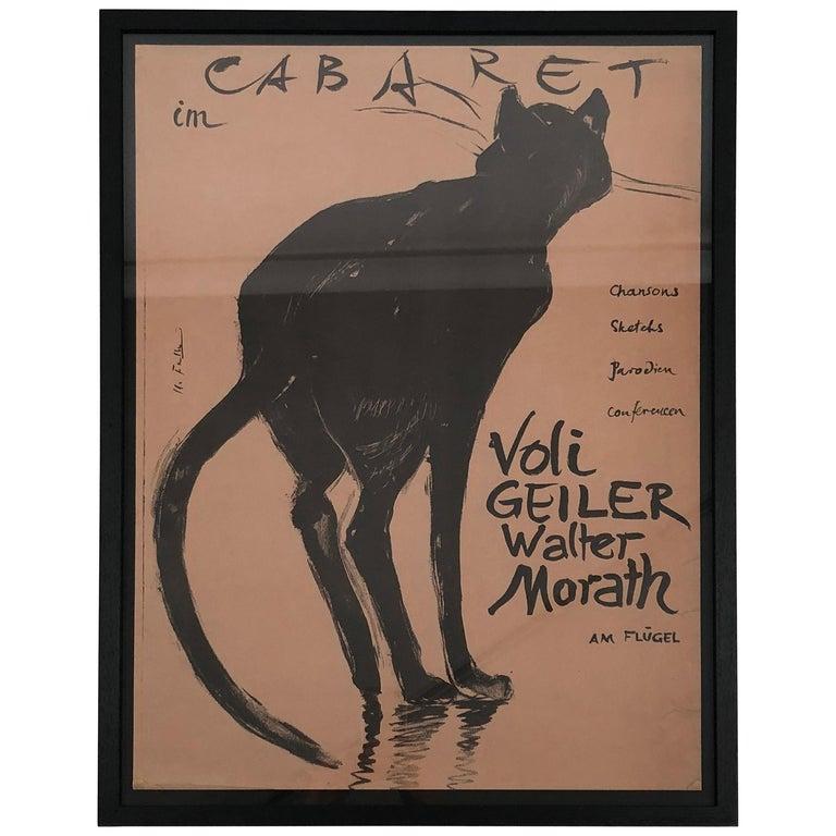 Original Swiss Black Cat Cabaret Poster, circa 1949 For Sale