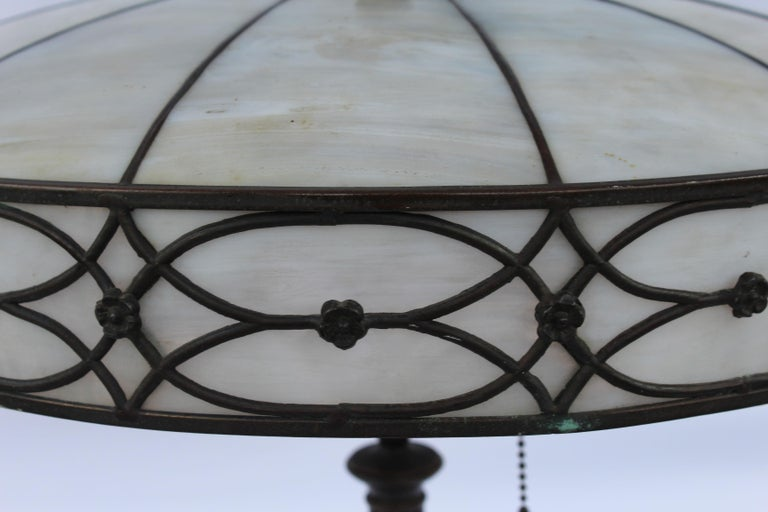 Hand-Crafted Original Table Lamp, Lead Glass Shade, Base with Acorn Pulls For Sale