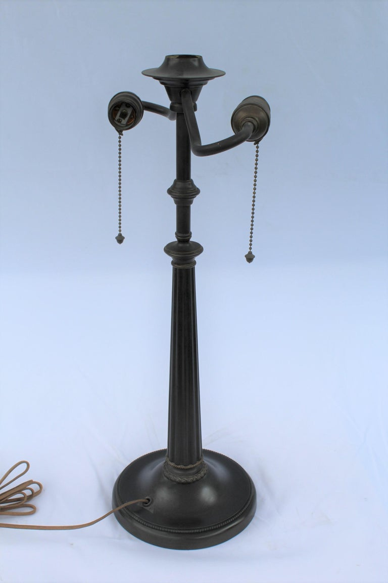 20th Century Original Table Lamp, Lead Glass Shade, Base with Acorn Pulls For Sale