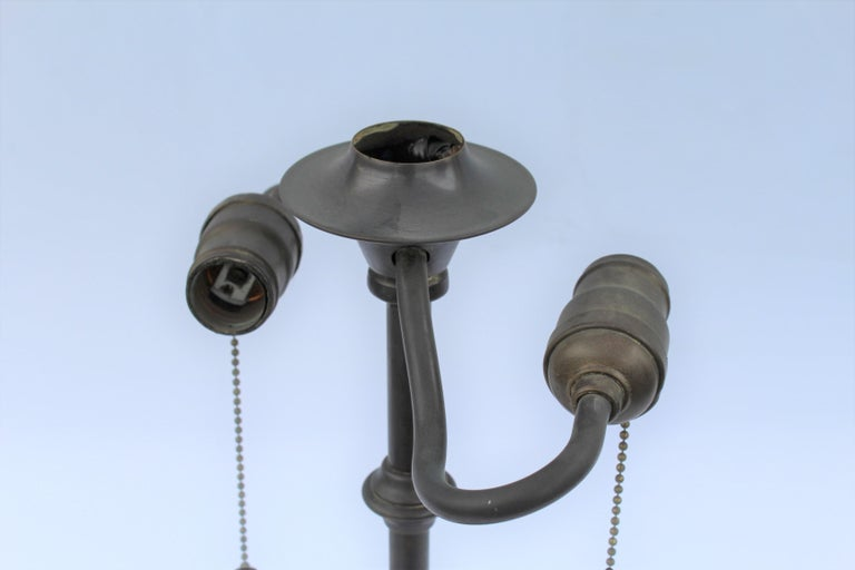 Original Table Lamp, Lead Glass Shade, Base with Acorn Pulls For Sale 2