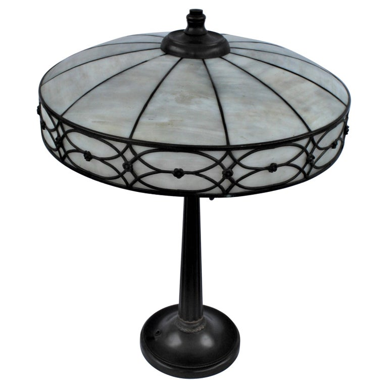 Original Table Lamp, Lead Glass Shade, Base with Acorn Pulls For Sale