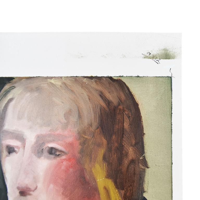 Original Tall Portrait Painting of a Blonde Woman on Green, 1990s In Excellent Condition For Sale In Oklahoma City, OK