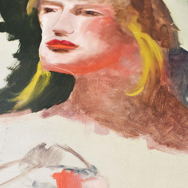 Late 20th Century Original Tall Portrait Painting of a Blonde Woman on Green, 1990s For Sale