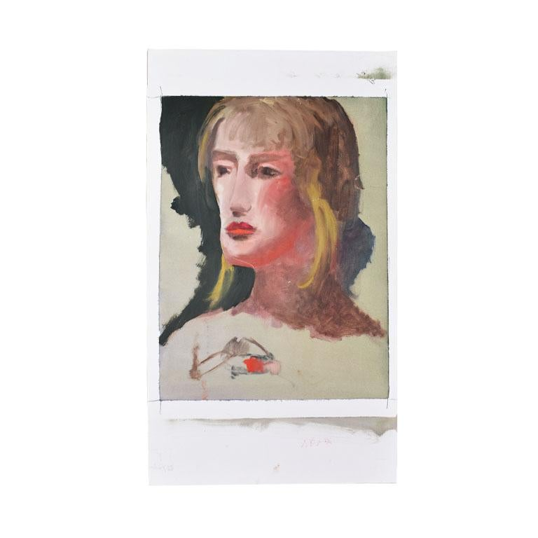 Original Tall Portrait Painting of a Blonde Woman on Green, 1990s For Sale 2