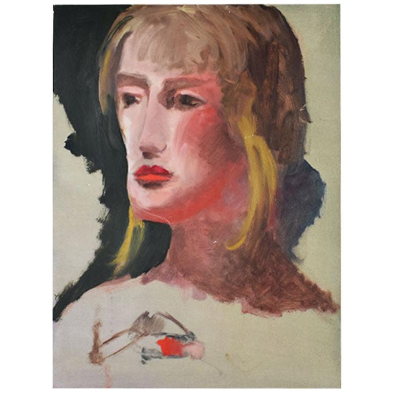 Original Tall Portrait Painting of a Blonde Woman on Green, 1990s