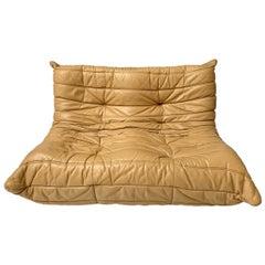Original Tan Leather Ligne Roset Togo Loveseat