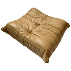 Original Tan Leather Ligne Roset Togo Ottoman