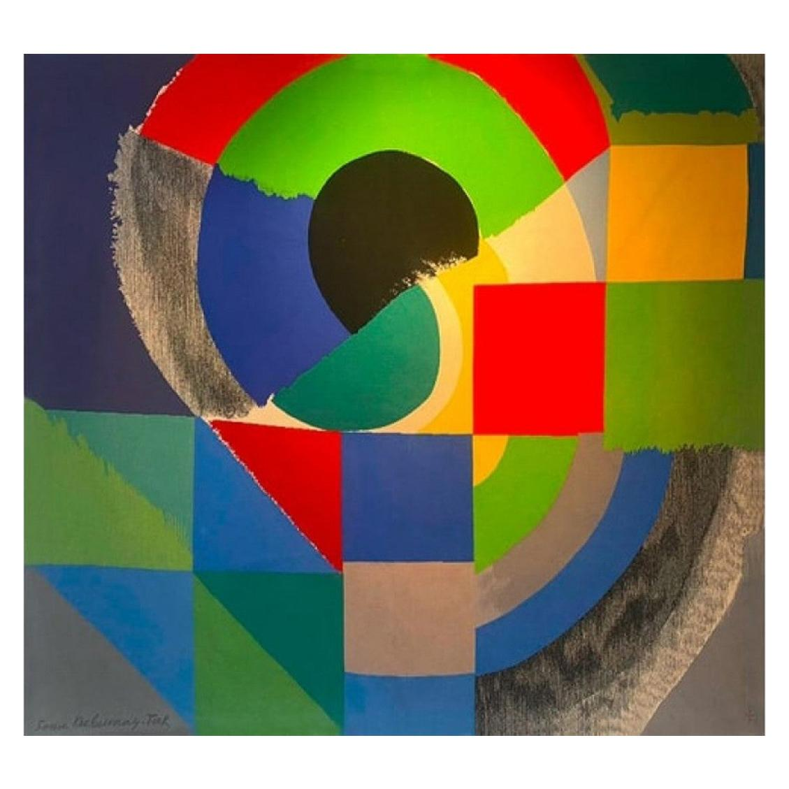 """1960s Original Tapestry by artist Sonia Delaunay """"Finistère"""" in wool"""