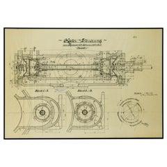 Original Technical Drawing of Compressor, 1925