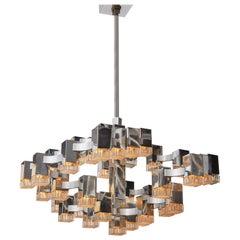 Original Thirty Seven Lights Cubic Chandelier by Sciolari
