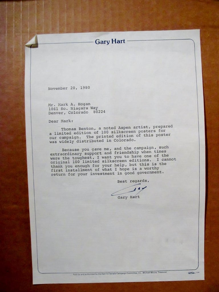 Original Thomas W Benton Serigraph Gary Hart Campaign Poster Signed and Letter 3