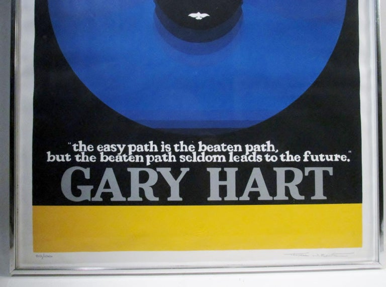 American Original Thomas W Benton Serigraph Gary Hart Campaign Poster Signed and Letter