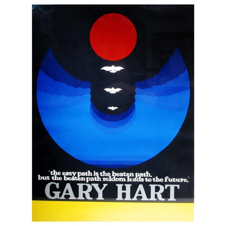 Original Thomas W Benton Serigraph Gary Hart Campaign Poster Signed and Letter