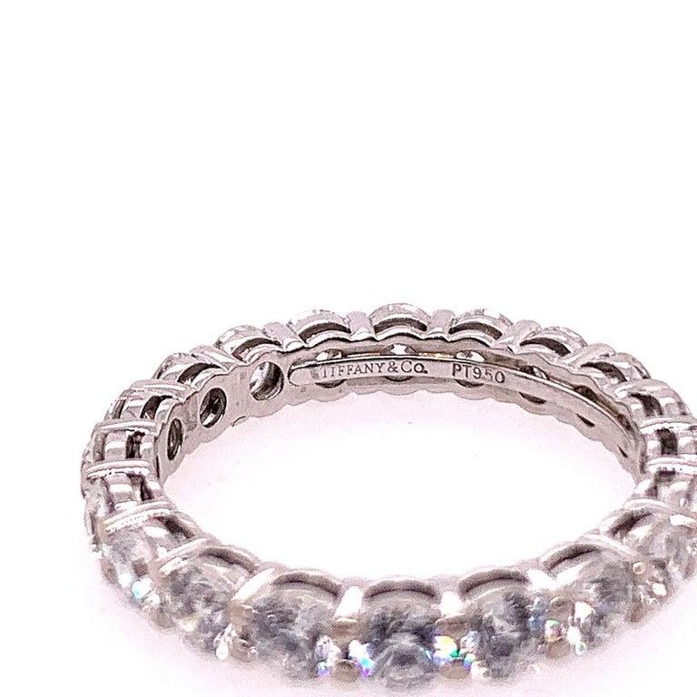 Round Cut Original Tiffany & Co. Platinum 1.75 Carat D-E VVS Natural Diamond Eternity Band For Sale