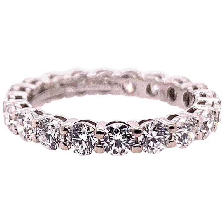 Original Tiffany & Co. Platinum 1.75 Carat D-E VVS Natural Diamond Eternity Band For Sale
