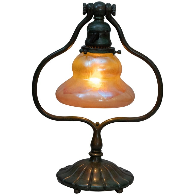 Original Tiffany Studios Harp Lamp with Pulled Feather Art Glass Shade For Sale
