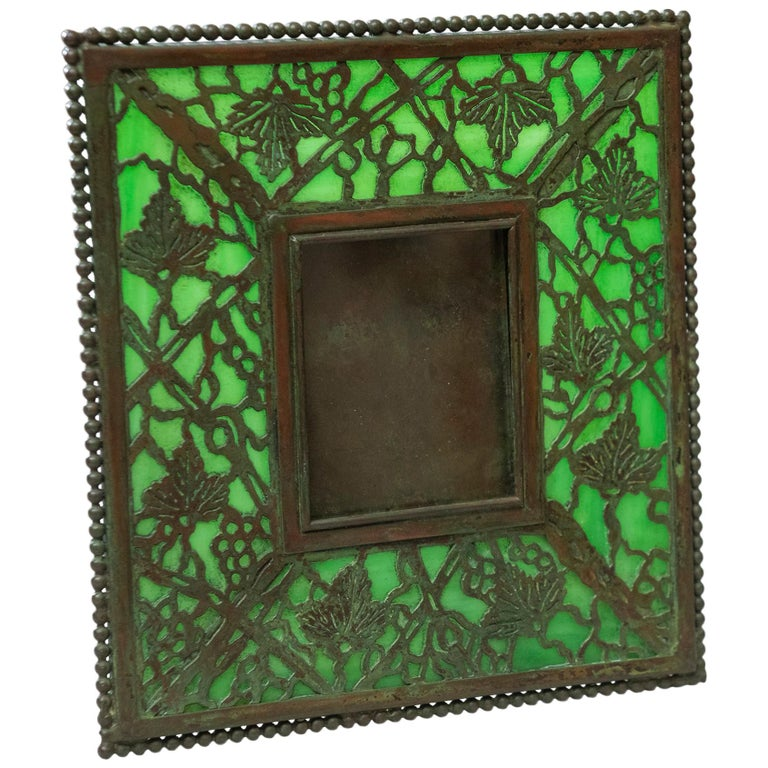 Original Tiffany Studios Pine Needle Picture Frame, Signed, circa 1905 For Sale