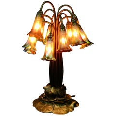 Original Tiffany Studios Twelve Light Lily Lamp in Gold Doré