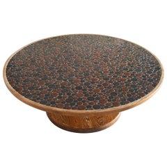 Original Tile Top Round Coffee Table by Jane & Gordon Martz for Marshall Studios