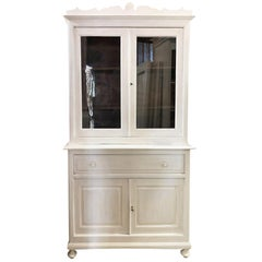 Original Tuscan Showcase from 1880 in Fir, Shabby White Color, with Period Glass