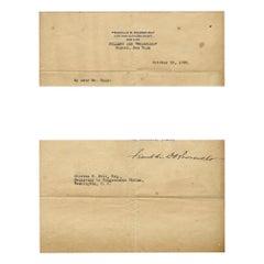 Original Typewritten Document Signed by F.D. Roosevelt, 1920