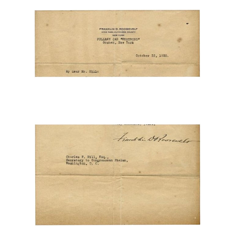 Original Typewritten Document Signed by F.D. Roosevelt, 1920 For Sale