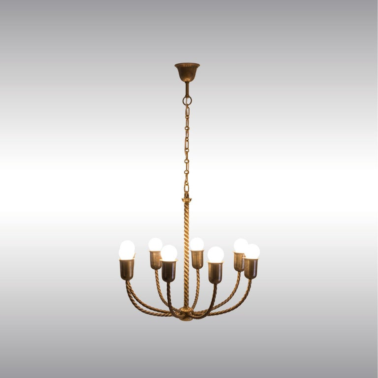 Original and unique Eight-arm chandelier for the Sigmund Berl House in Freudenthal, built in 1922. First published in