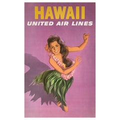 Original United Air Lines 1960s Hawaii Travel Poster, Galli