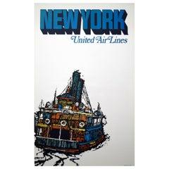 Original United Air Lines 1960s New York Travel Poster, Jebavy