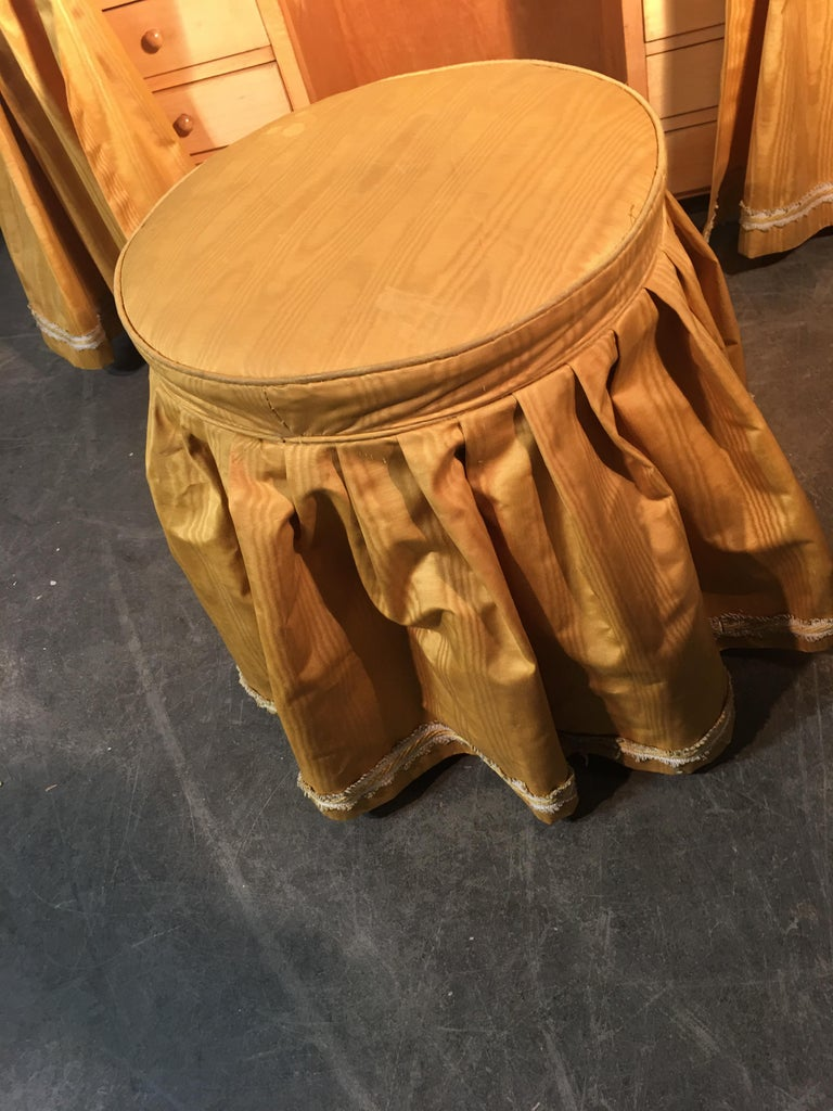 Original Vanitie and Its Art Deco Stool in Sycamore, circa 1940-1950 For Sale 2
