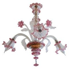 Original Venetian Handcrafted Murano Chandelier Clear and Pink Blown Glass Italy
