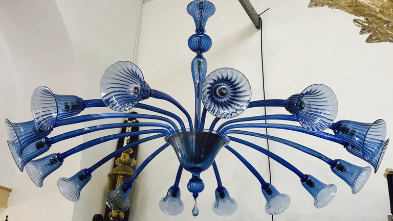 Italian Original Venini Chandelier with Light Blue Blown Glass, 1920 For Sale