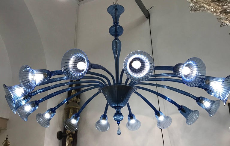 Original Venini Chandelier with Light Blue Blown Glass, 1920 For Sale 2