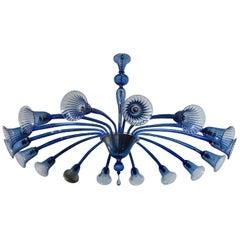Original Venini Chandelier with Light Blue Blown Glass, 1920
