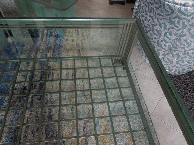 Post-Modern Original Verdigris and Bronze Metal Postmodern Coffee Table by Steve Chase For Sale