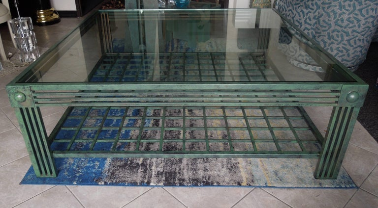 Late 20th Century Original Verdigris and Bronze Metal Postmodern Coffee Table by Steve Chase For Sale