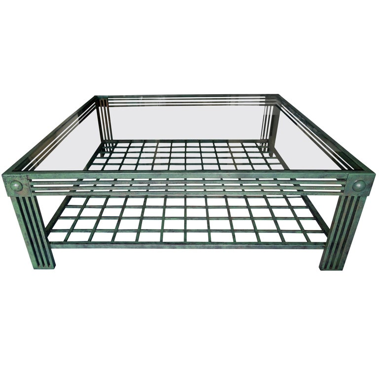 Original Verdigris and Bronze Metal Postmodern Coffee Table by Steve Chase For Sale