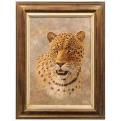 Original Vertical Framed Paul Rose Wildlife Painting Depicting a Leopard Head