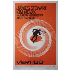 Original Vertigo Film Movie Poster, Hitchcock, Saul Bass, 1958
