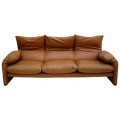 """Original Vico Magistretti """"Maralunga"""" Leather Italian Sofa, Edited by Cassina"""