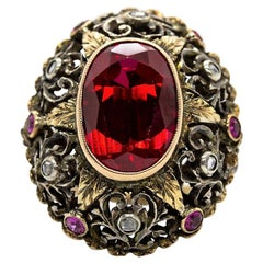 Original Victorian 18 Karat Gold and Silver Ruby and Diamond Ring