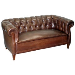 Original Victorian 1890 Swedish Aged Brown Leather Chesterfield Full Sprung Sofa