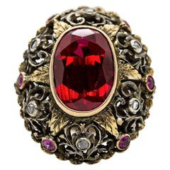 Original Victorian 18 Karat Gold and Silver Ruby and Diamonds Ring