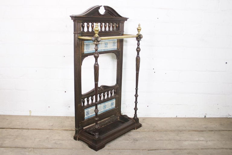 English Original Victorian Cast Iron and Tiled Stick Stand For Sale
