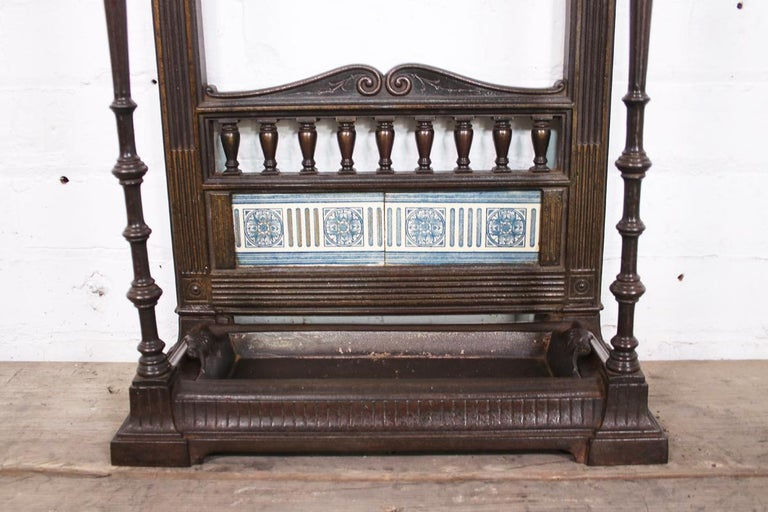 Original Victorian Cast Iron and Tiled Stick Stand For Sale 2